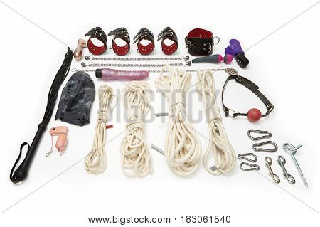 Set of erotic toys and vibrators used in BDSM sexual games