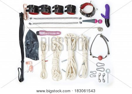 Set of erotic toys used in BDSM sexual games