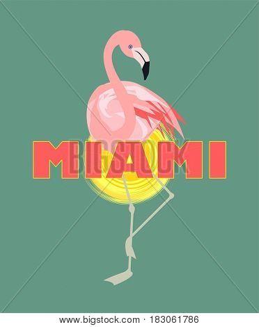 T-shirt print with Miami lettering, sun and pink flamingo Art deco style