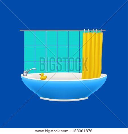 illustration of blue bathtube with curtain on blue background