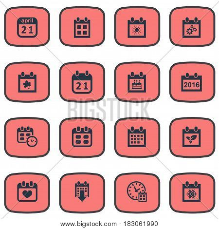 Vector Illustration Set Of Simple Calendar Icons. Elements Plant, Agenda, Summer Calendar And Other Synonyms Winter, Agenda And Annual.