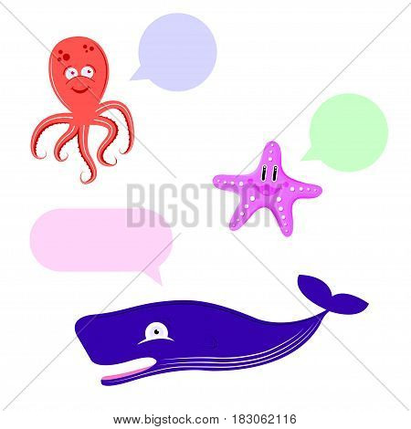 Set of cute animal whale, octopus, starfish talking isolated on white background