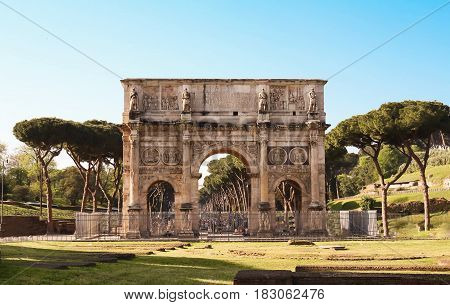 The view of Arch of Constantine , Rome, Italy.