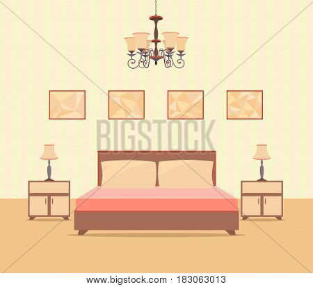 Bedroom interior design in flat style including bed table lamps nightstands and picture frames. Flat vector illustration.
