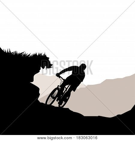illustration of male cyclist silhouette riding down hill