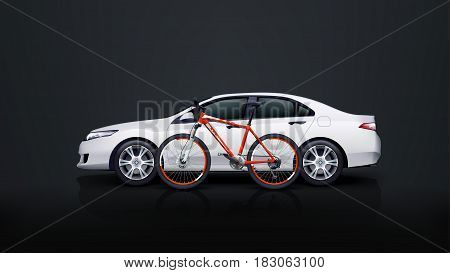 illustration of red bicycle with white car on dark background
