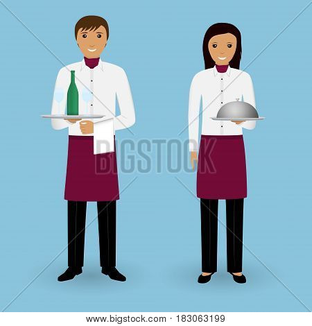 Couple of waiter and waitress with dishes and in uniform stand together. Restaurant team concept. Food service occupation staff. Vector illustration.