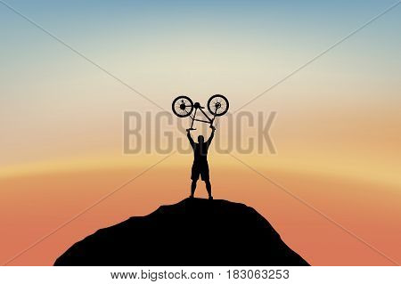 illustration of man holding bike on top of mountain at sunset