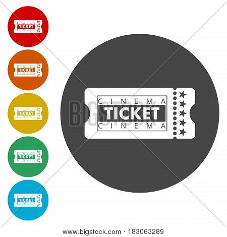 Cinema Ticket, simple vector icon on white background
