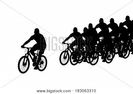 illustration of group of silhouettes riding on bicycles isolated on white
