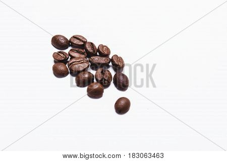 Coffee beans isolated on white background top view. Have a space for your text.