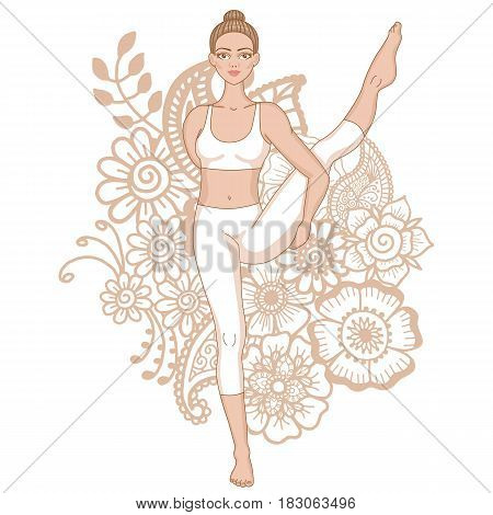 Women silhouette.Bird of Paradise Yoga Pose. Svarga Dvidasana Vector illustration
