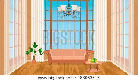 Living room interior with big windows. Modern design of light loft with wooden flooring sofa chandelier. Contemporary household concept. Vector illustration.