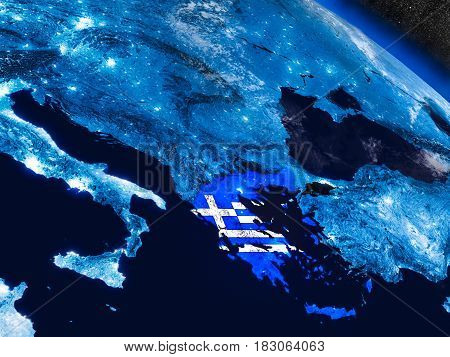 Greece With Embedded Flag From Space