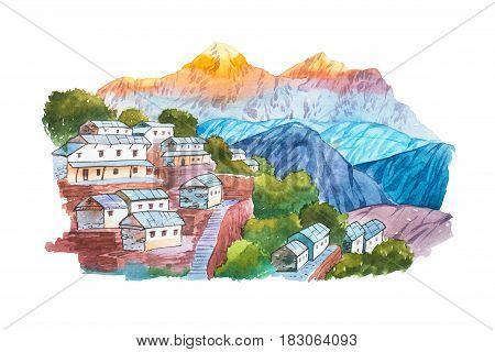 Warecolor illustration Himalayan village aquarelle drawings landscape