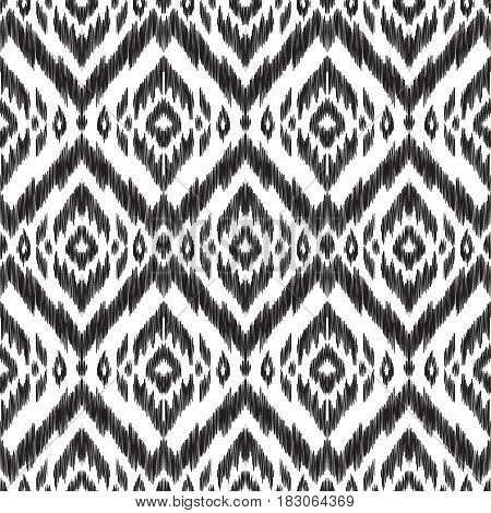 Black and white vector seamless pattern. Large tracery. Ethnic print for fashion summer design, fabric, home decor textile, wallpaper, card and wrapping paper.