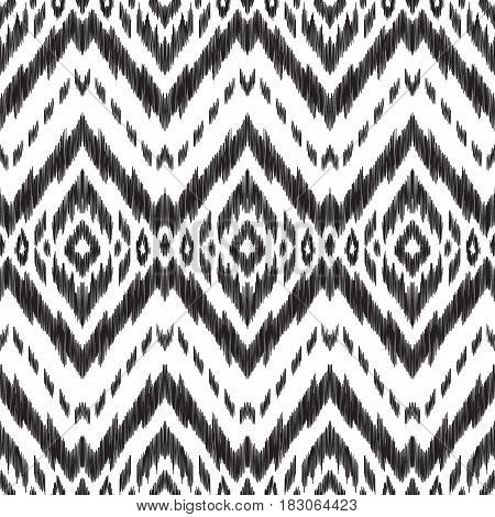 Black and white vector seamless pattern. Large tracery. Abstract ethnic print for fashion fabric, home decor textile, wallpaper, card and wrapping paper.