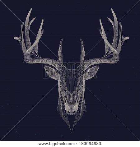 futuristic illustration of deer wire frame invert
