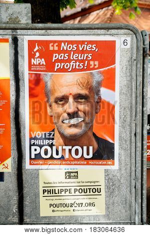 STRASBOURG FRANCE - APR 26 2017: vandalized on the first round of 2017 French presidential election