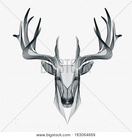 linear futuristic illustration of deer wire frame