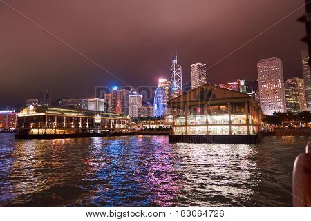 HONG KONG - CIRCA NOVEMBER, 2016:  Star Ferry Pier at night. The Star Ferry is a passenger ferry service operator and tourist attraction in Hong Kong