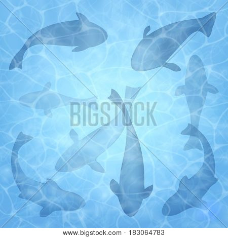 Fishing. Summer background with fish. Fish set. Texture of water surface. Overhead view. Vector illustration background.