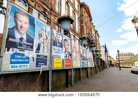 STRASBOURG FRANCE - APR 23 2017: French presidential posters for the upcoming presidential election in France in front of the City Hall building in Strasbourg