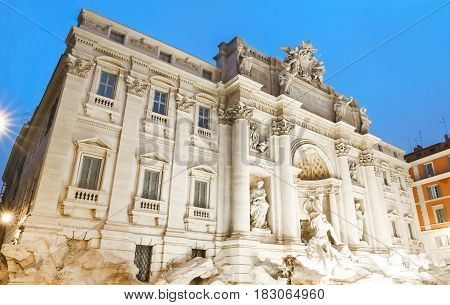 The Trevi Fountain is a fountain in the Trevi district in Rome. it is the largest Baroque fountain in the city and one of the most famous fountains in the world.
