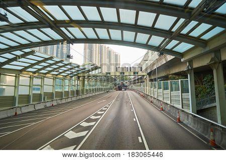 HONG KONG - CIRCA NOVEMBER, 2016: view from upper deck of double-decker bus.