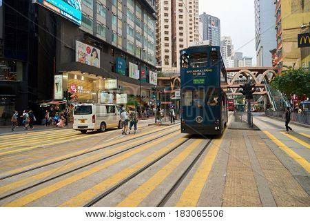 HONG KONG - CIRCA NOVEMBER, 2016: double-decker tramway. The tram is the cheapest mode of public transport on Hong Kong island