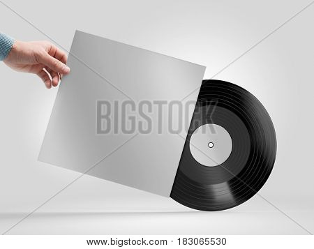 Vinyl record in a hand mockup, on white background. 3d rendering.