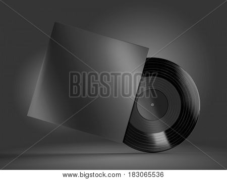 Vinyl record with a case mockup on black background. 3d rendering.