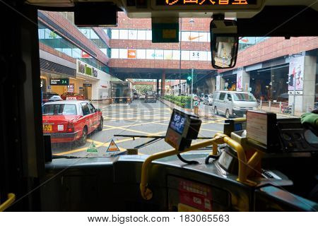 HONG KONG - CIRCA NOVEMBER, 2016:  view from lower deck of double-decker bus.