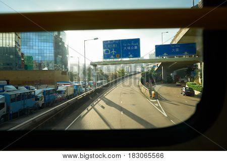 HONG KONG - CIRCA NOVEMBER, 2016: view from upper deck of double-decker bus in Hong Kong