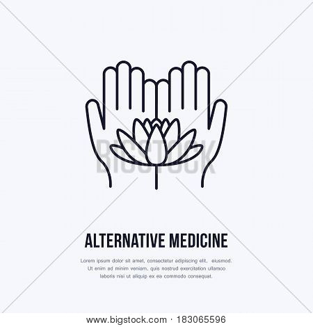 Alternative medicine flat line icon, logo. Vector illustration of lotos flower in hands for traditional treatment, ayurveda, massage or yoga center.