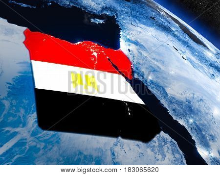 Egypt With Embedded Flag From Space