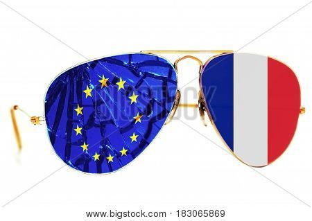 Brocken sunglasses with the flag of France and the European Union