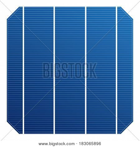 Monocrystalline solar cell for solar panel. Vector solar element high efficiency. Electric element for charge battery