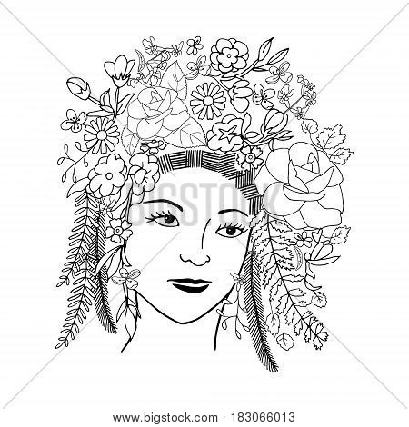 Girl face in chaplet of flowers and leaves hand drawn object isolated on white