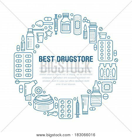 Medical, drugstore poster template. Vector medicament line icons, illustration of dosage forms - tablet, capsules, pills. Medicines antibiotics, vitamins. Healthcare banner with place for text.