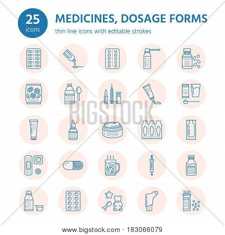 Medicines, dosage forms line icons. Pharmacy medicaments, tablet, capsules, pills antibiotic, vitamin, painkiller, aerosol spray. Medical threatment health care thin signs in circles for drug store.