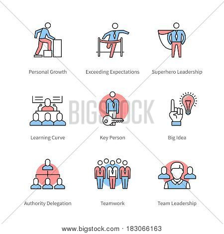 Management, team work, business concept symbols. Thin line art icons with flat colorful design elements. Modern linear style illustrations isolated on white.