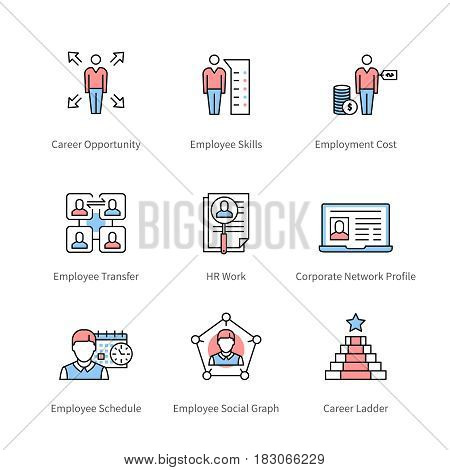 Career management, professional development, individual success, corporate business symbol. Thin line art icons with flat colorful design elements. Modern linear style illustrations isolated on white.