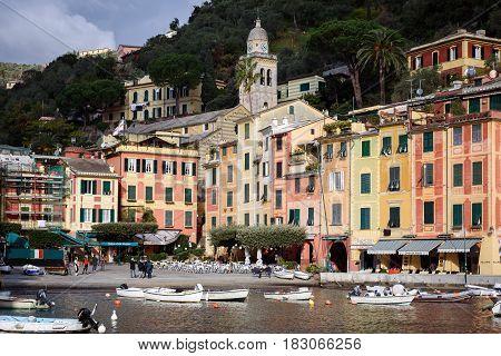 PORTOFINO, ITALY - DECEMBER 2016: Small bay with color architecture at Portofino town, Italy