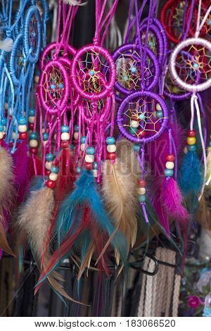Handmade colorful Indian  dreamcatchers on a market