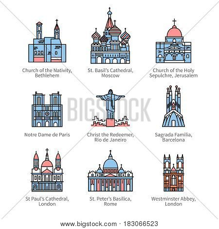 Famous Christian churches and cathedrals, Christ the Redeemer statue. City travel landmarks. Thin line art icons with flat design elements. Modern linear style illustrations isolated on white.