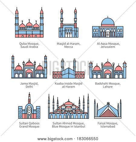 Famous mosques and Islam's holiest places. City travel landmarks. Thin line art icons with flat colorful design elements. Modern linear style illustrations isolated on white.