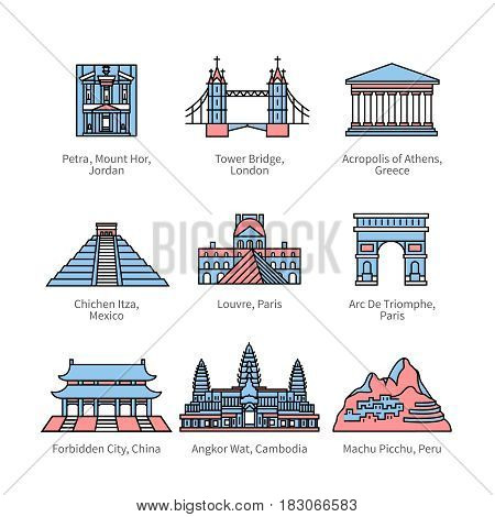City travel landmarks, tourist attraction in various countries of Europe, Asia and America. Thin line art icons with flat colorful design elements. Modern linear style illustrations isolated on white.