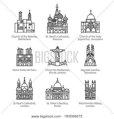 Famous Christian churches and cathedrals, Christ the Redeemer statue. City travel landmarks. Thin black line art icons with flat design elements. Modern linear style illustrations isolated on white.