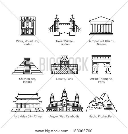 City travel landmarks, tourist attraction in various countries of Europe, Asia and America. Thin black line art icons with flat design elements. Modern linear style illustrations isolated on white.